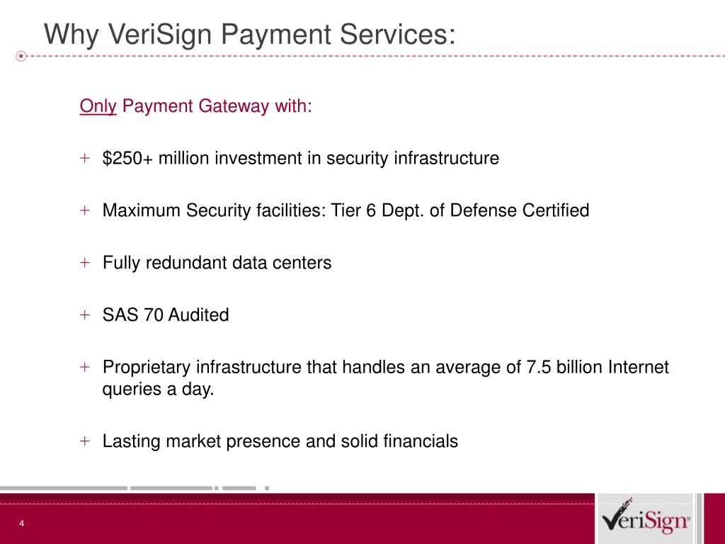 Why VeriSign Payment Services: