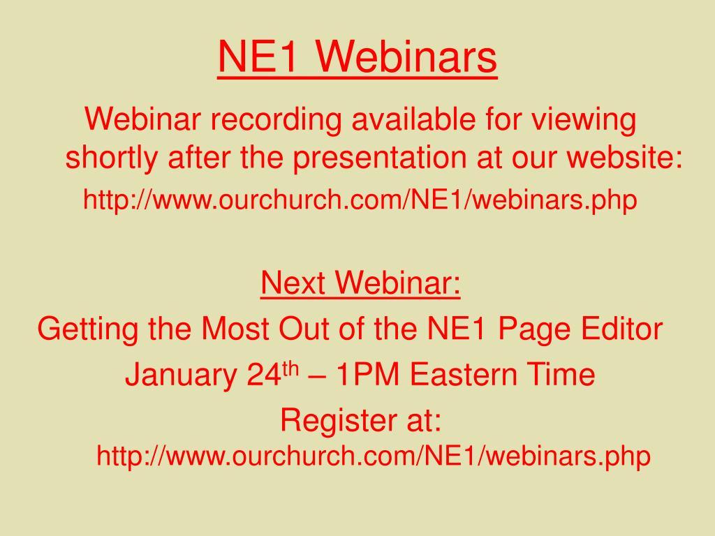NE1 Webinars