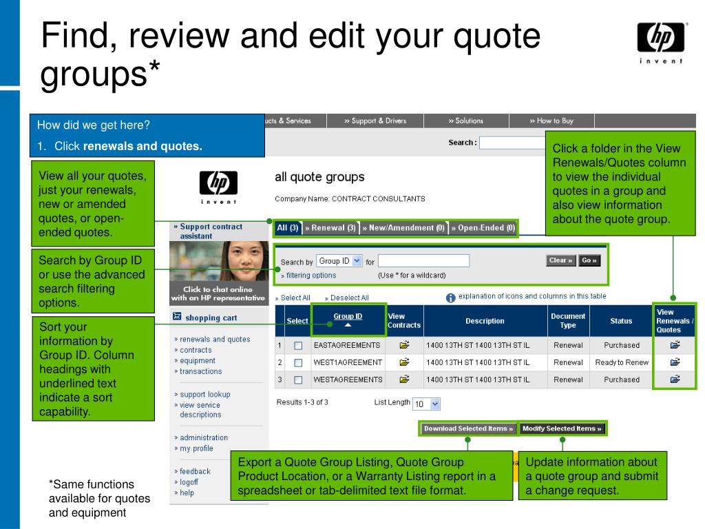 Find, review and edit your quote groups*