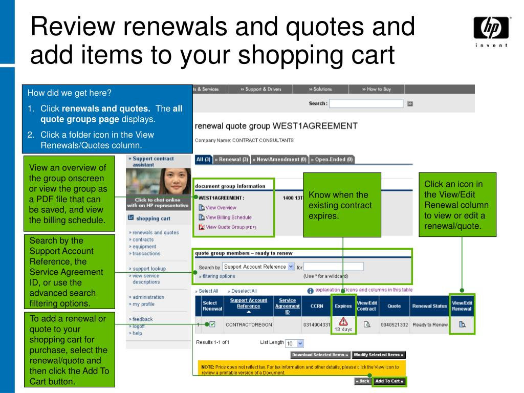 Review renewals and quotes and add items to your shopping cart