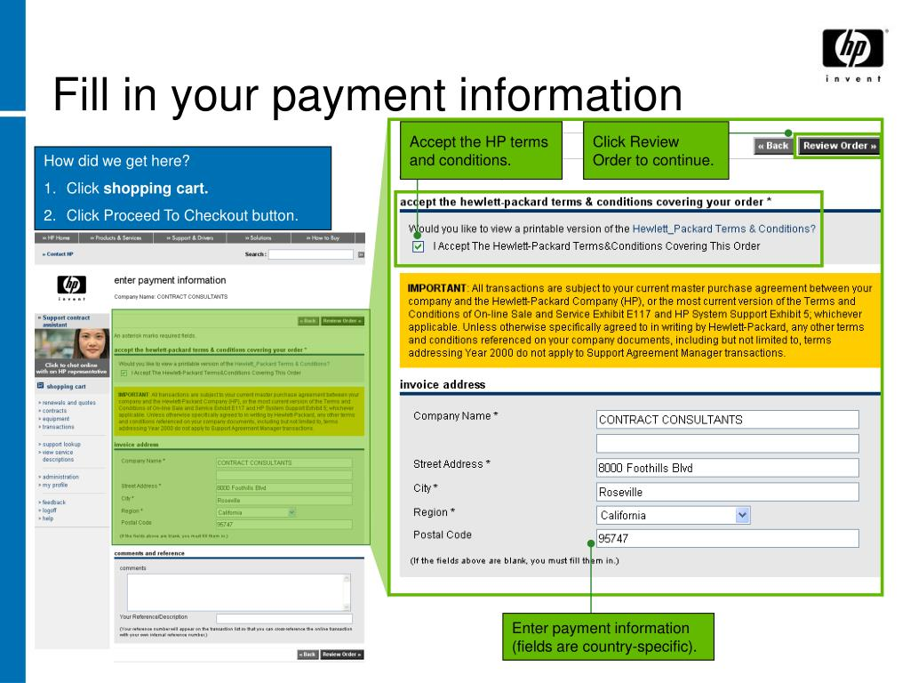 Fill in your payment information