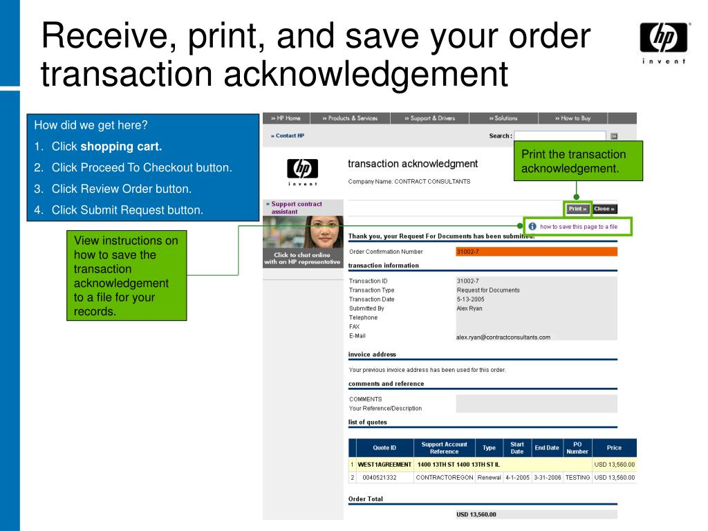 Receive, print, and save your order transaction acknowledgement