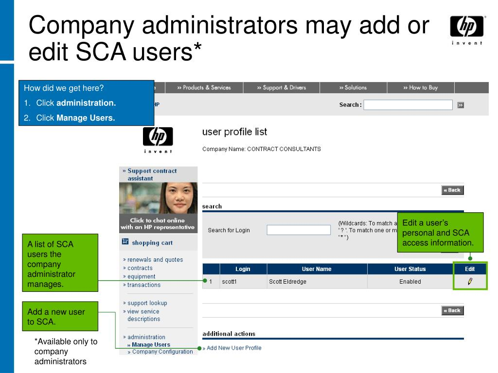 Company administrators may add or edit SCA users*