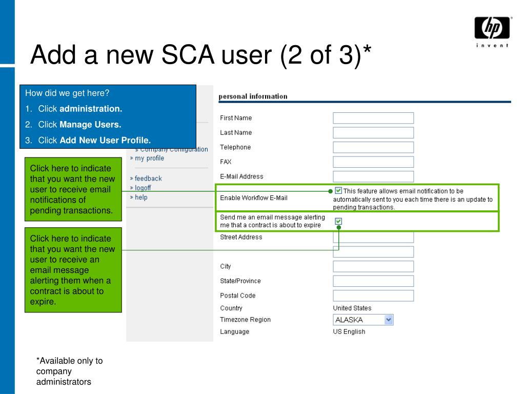Add a new SCA user (2 of 3)*
