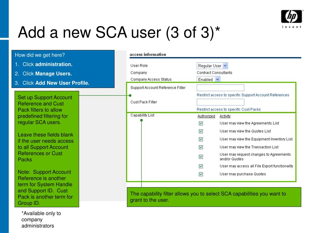 Add a new SCA user (3 of 3)*