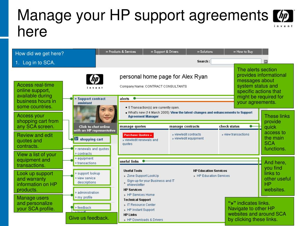 Manage your HP support agreements here