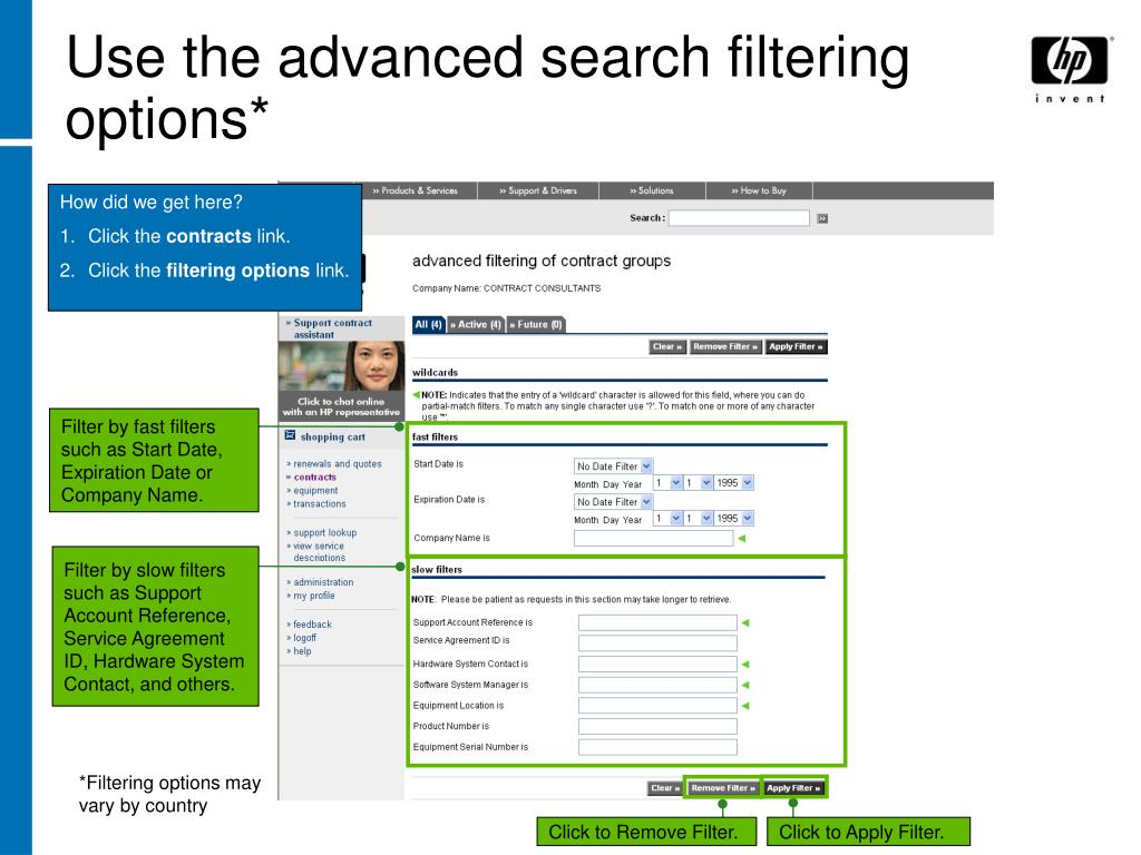 Use the advanced search filtering options*