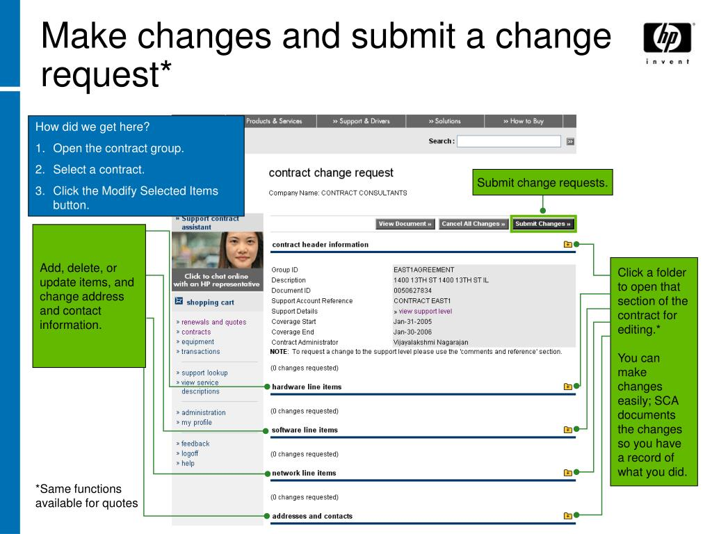 Make changes and submit a change request*