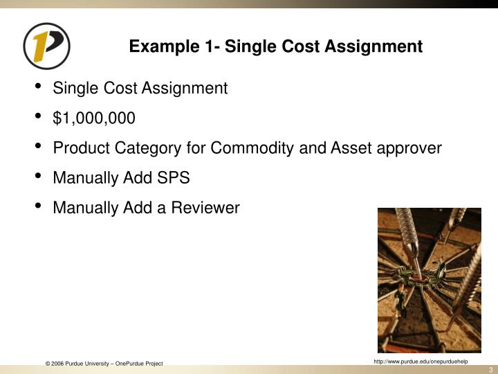 Example 1 single cost assignment