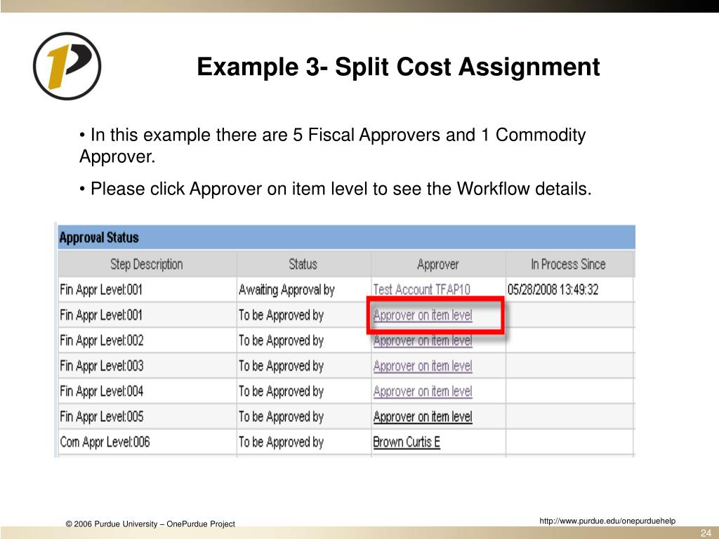 Example 3- Split Cost Assignment