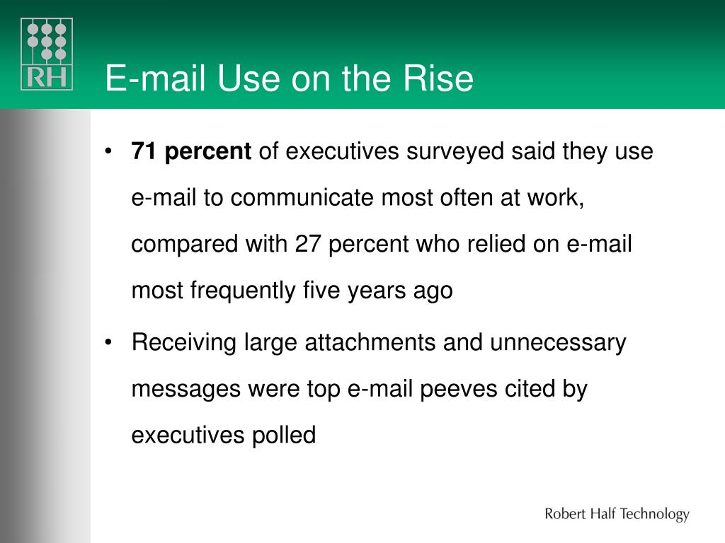 E-mail Use on the Rise