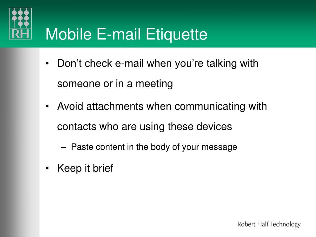 Mobile E-mail Etiquette