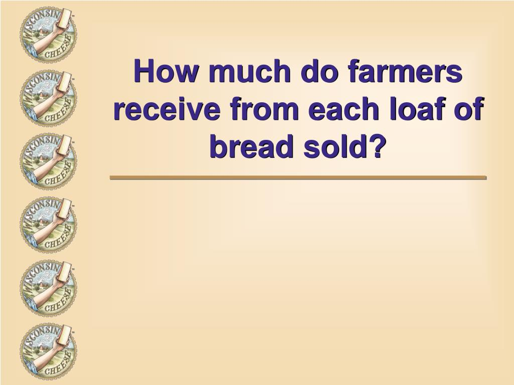 How much do farmers receive from each loaf of bread sold?