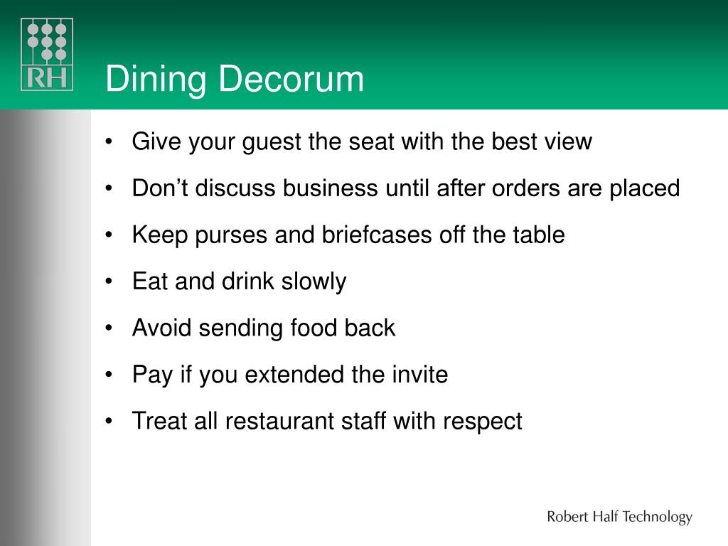 Dining Decorum