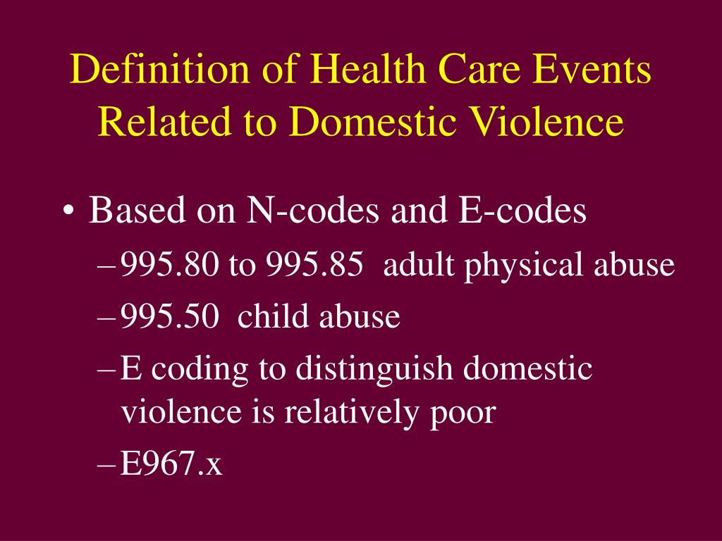 Definition of Health Care Events Related to Domestic Violence