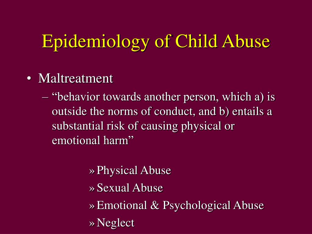 Epidemiology of Child Abuse