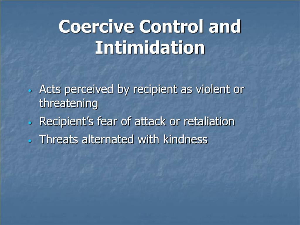 Coercive Control and Intimidation