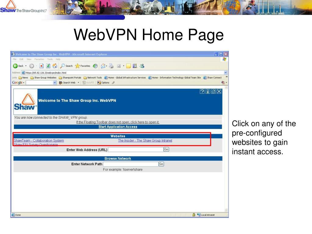 WebVPN Home Page