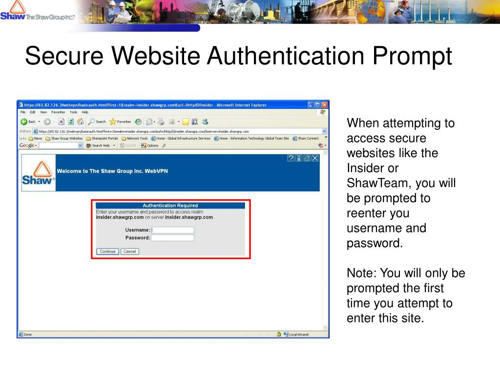 Secure Website Authentication Prompt