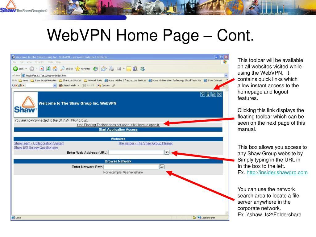 WebVPN Home Page – Cont.