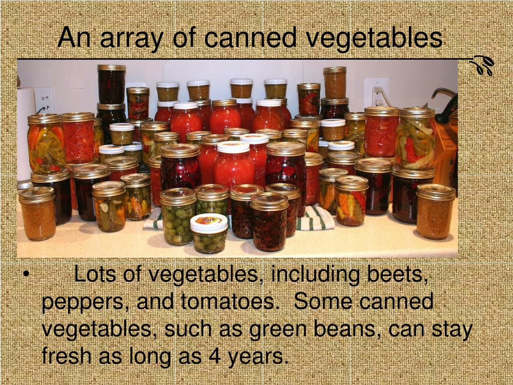 An array of canned vegetables