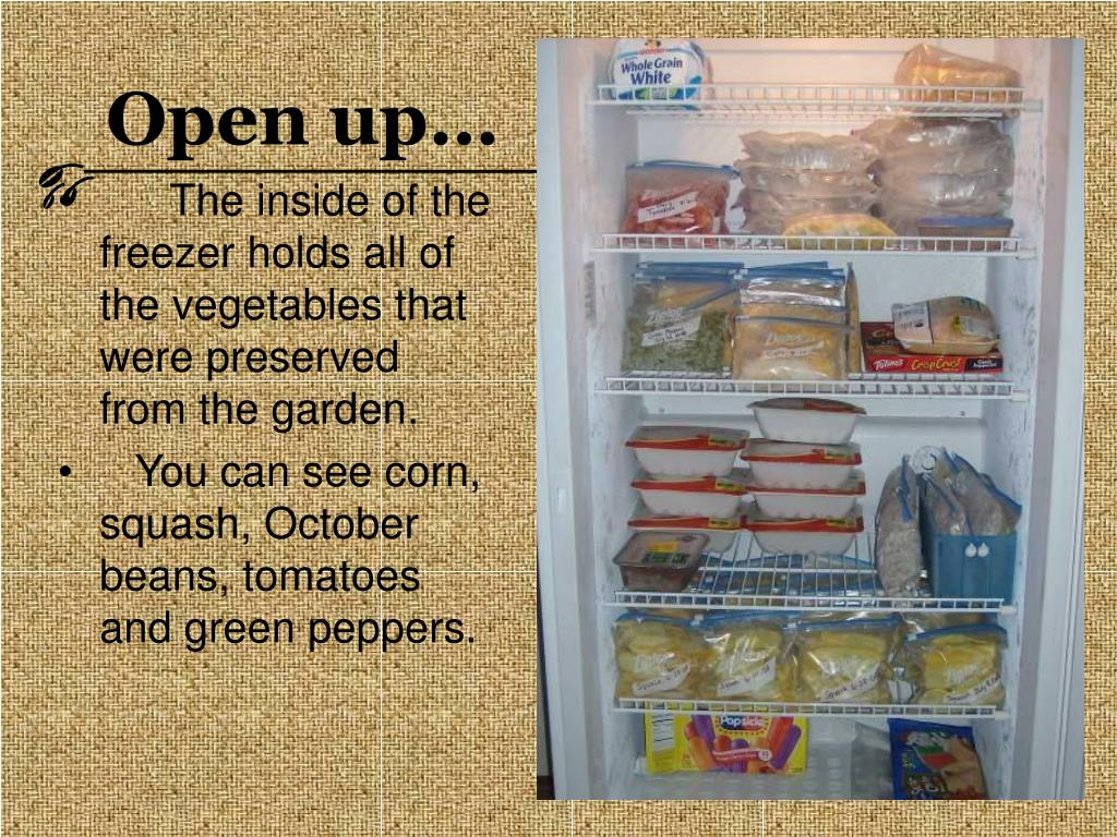 The inside of the freezer holds all of the vegetables that were preserved from the garden.