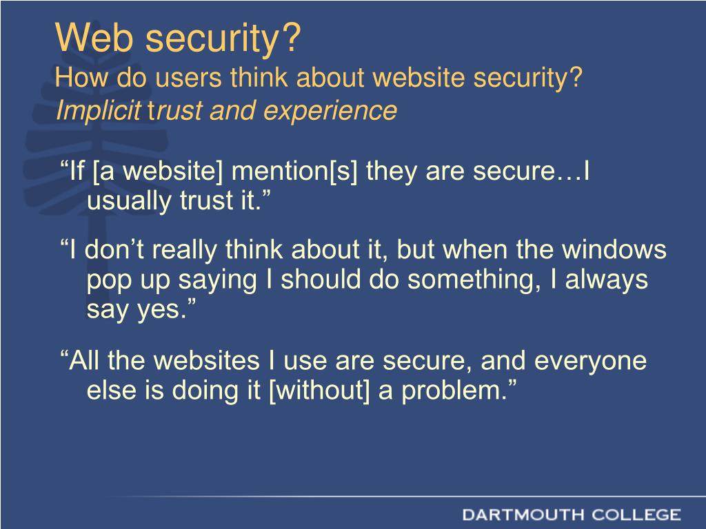 Web security?