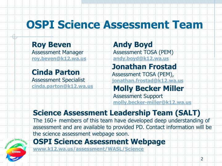 Ospi science assessment team