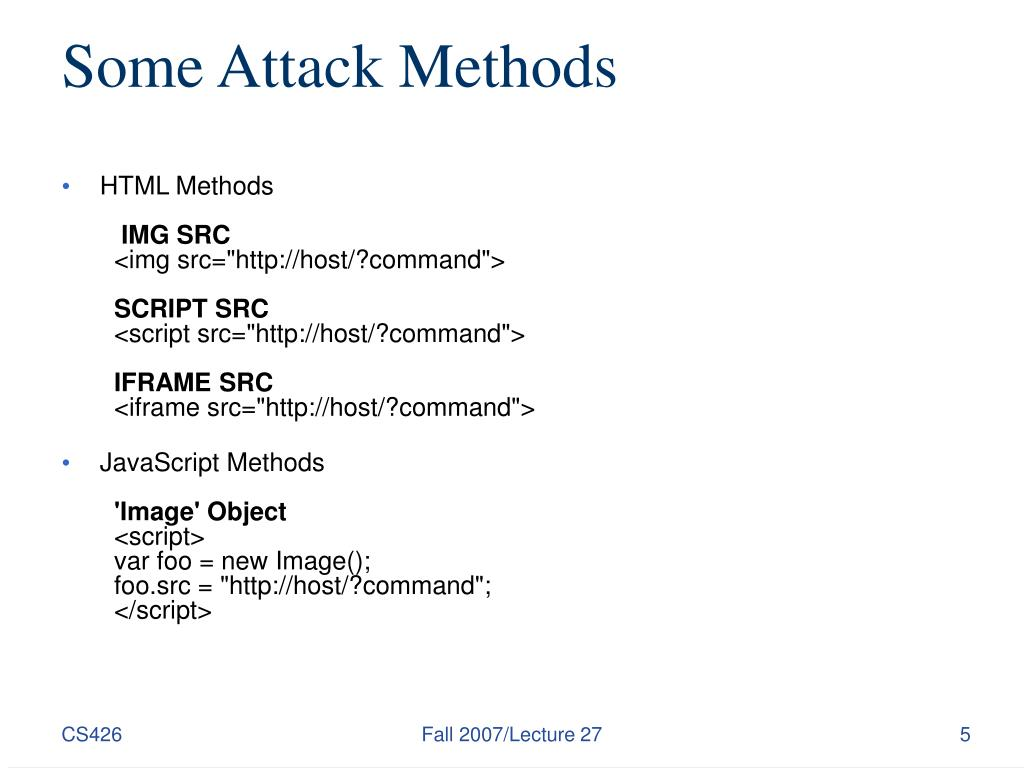 Some Attack Methods