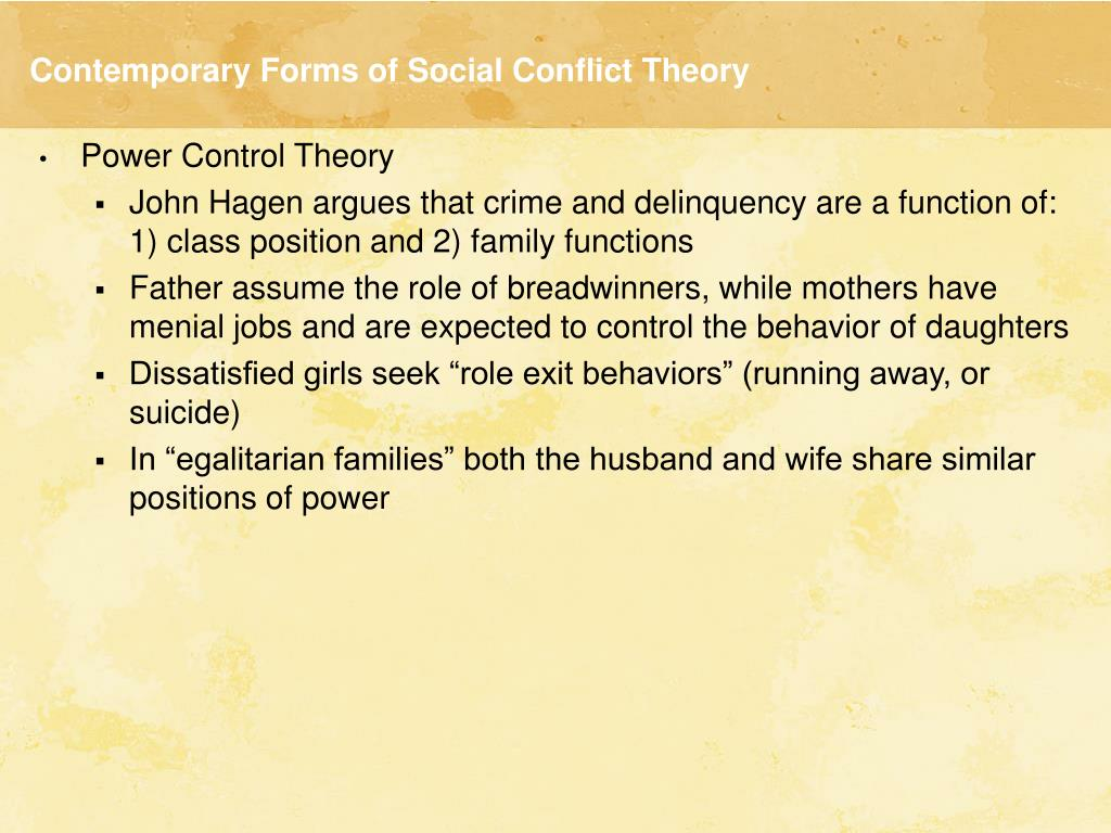 power control theory Hagan (1990) extended power-control theory to explain gender differences in  vulnerability to crime, a composite of victimization and offending, and the search .