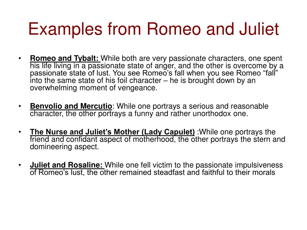 Examples from Romeo and Juliet