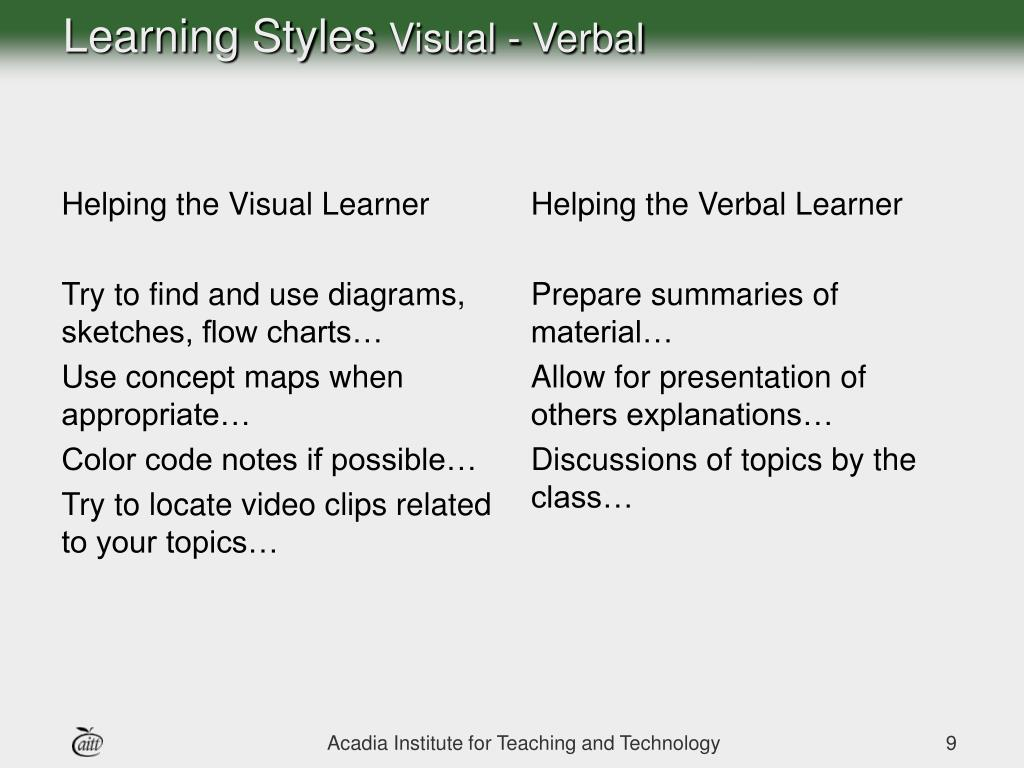 Helping the Visual Learner