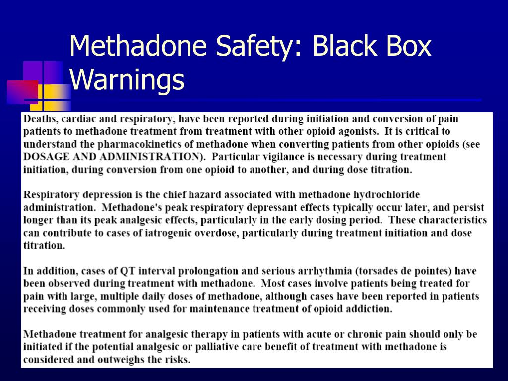 Methadone Safety: Black Box Warnings