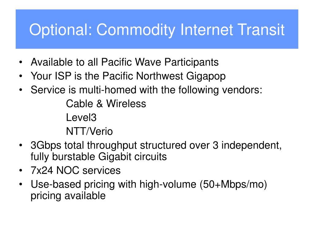 Optional: Commodity Internet Transit