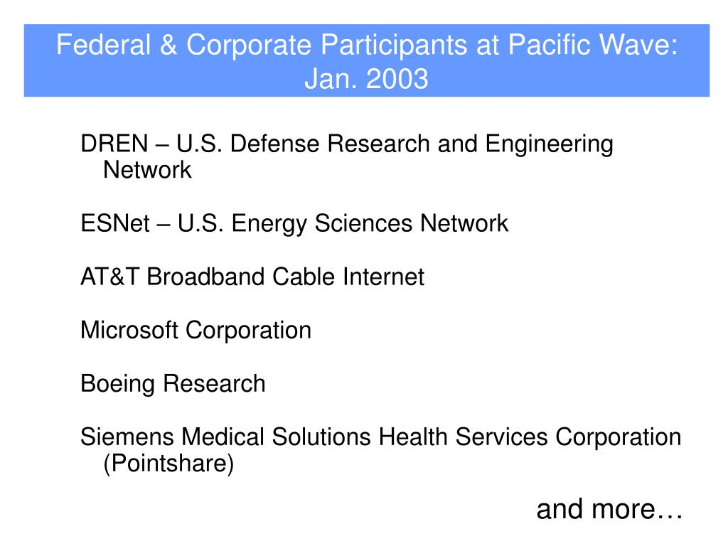 Federal & Corporate Participants at Pacific Wave: Jan. 2003