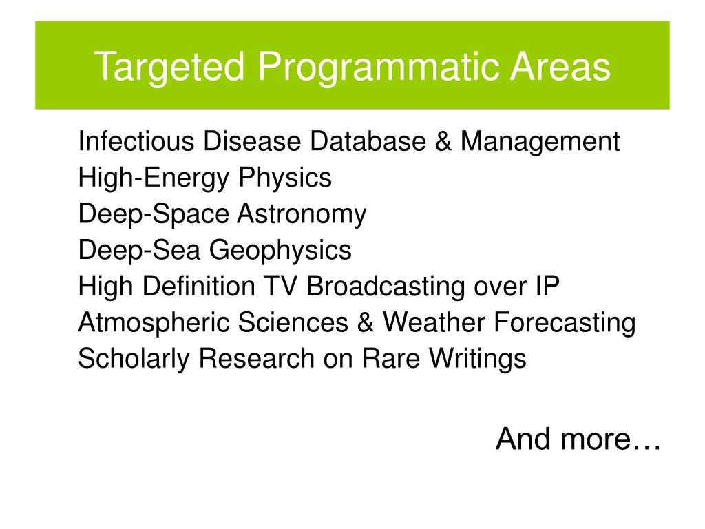 Targeted Programmatic Areas