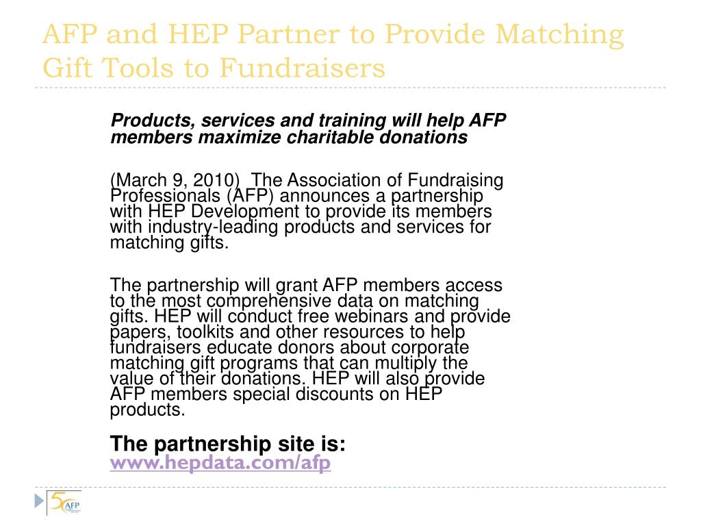 AFP and HEP Partner to Provide Matching Gift Tools to Fundraisers