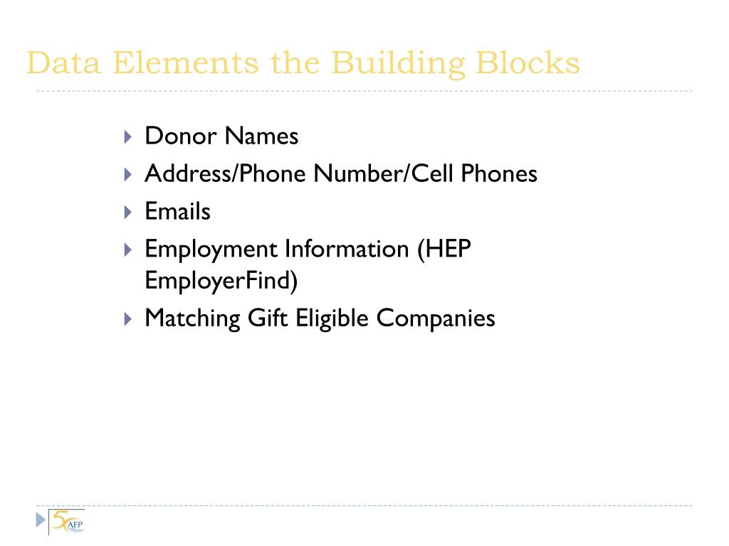 Data Elements the Building Blocks