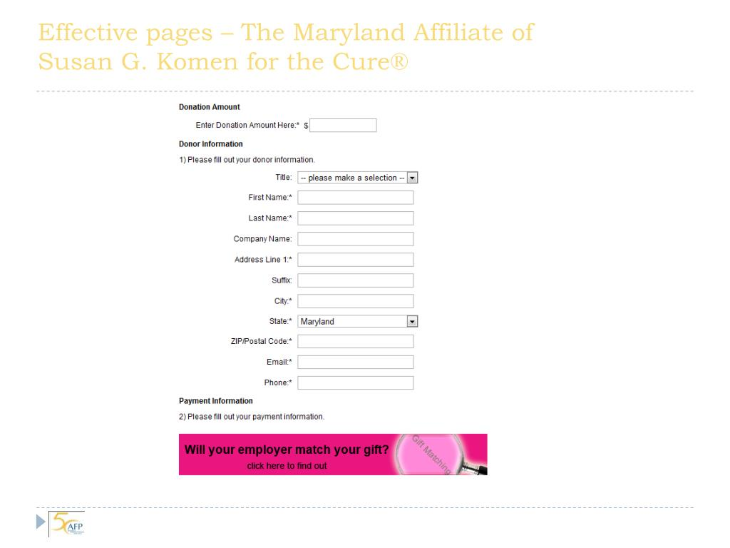 Effective pages – The Maryland Affiliate of Susan G.