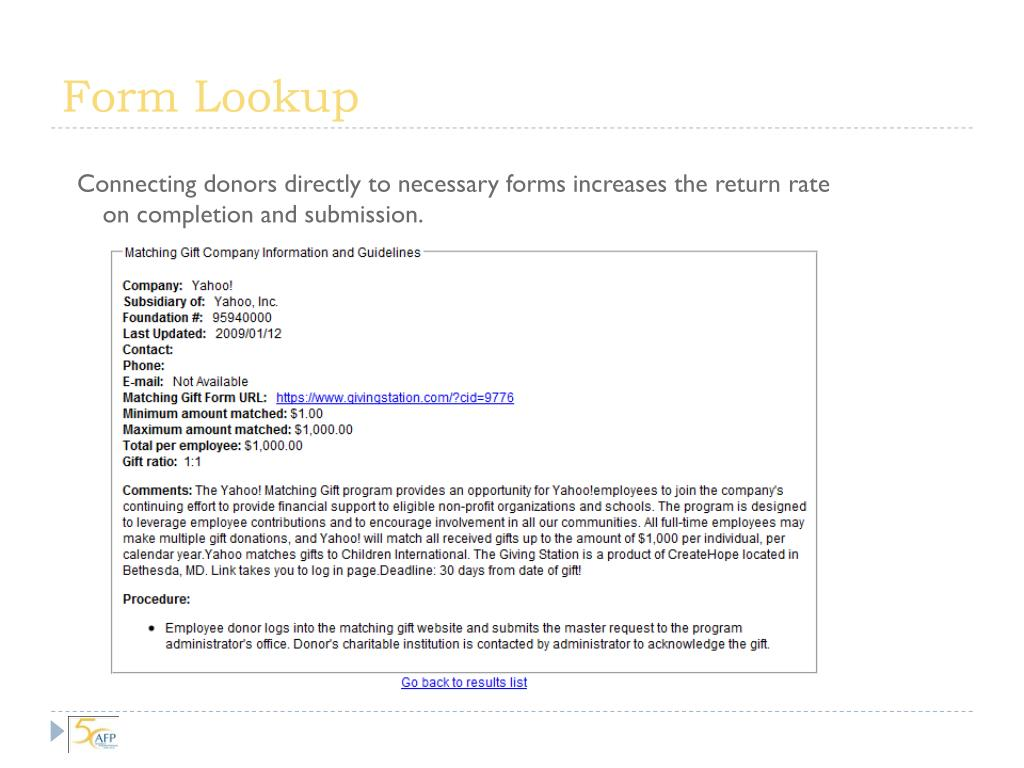 Form Lookup