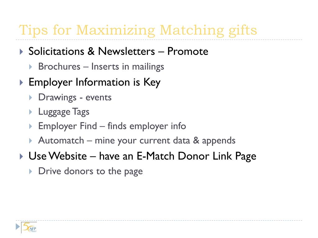 Tips for Maximizing Matching gifts