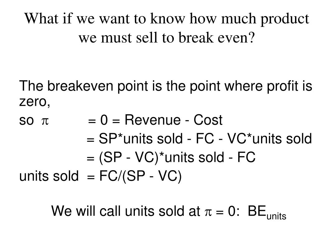 What if we want to know how much product we must sell to break even?