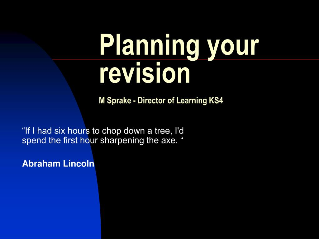 Planning your revision