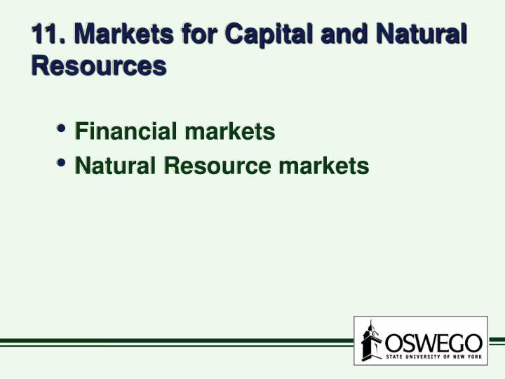11 markets for capital and natural resources