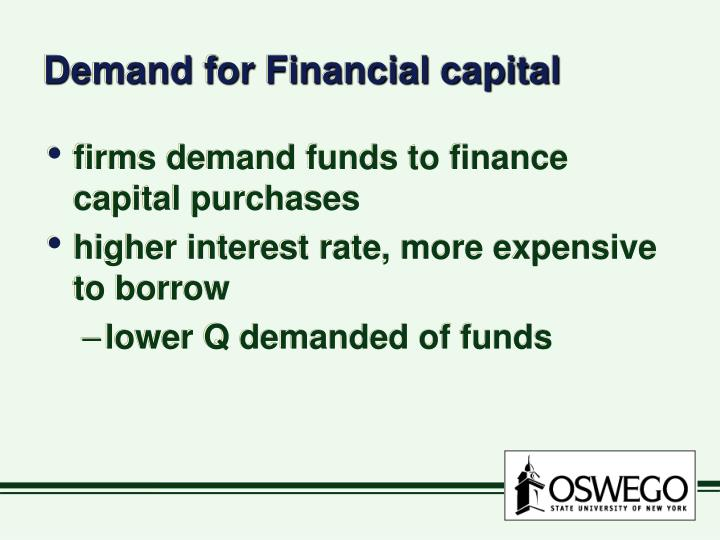 Demand for financial capital