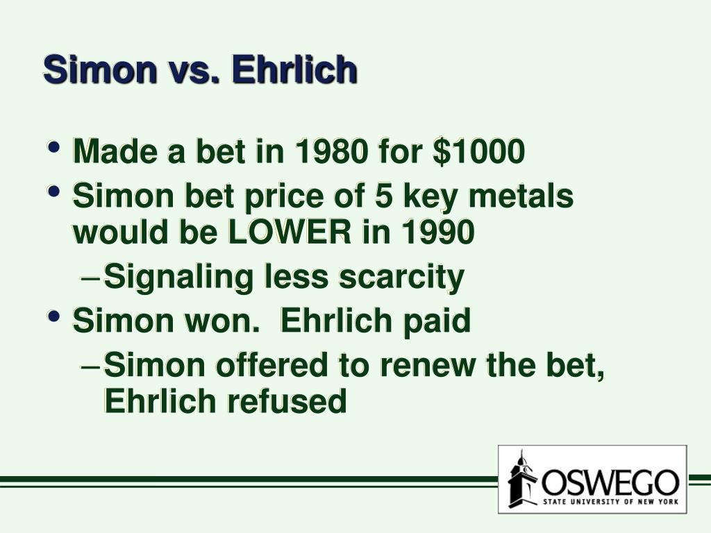 Simon vs. Ehrlich