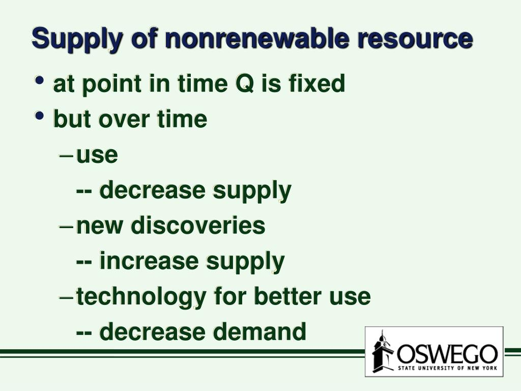Supply of nonrenewable resource