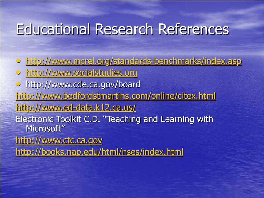 Educational Research References