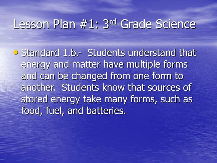 Lesson plan 1 3 rd grade science