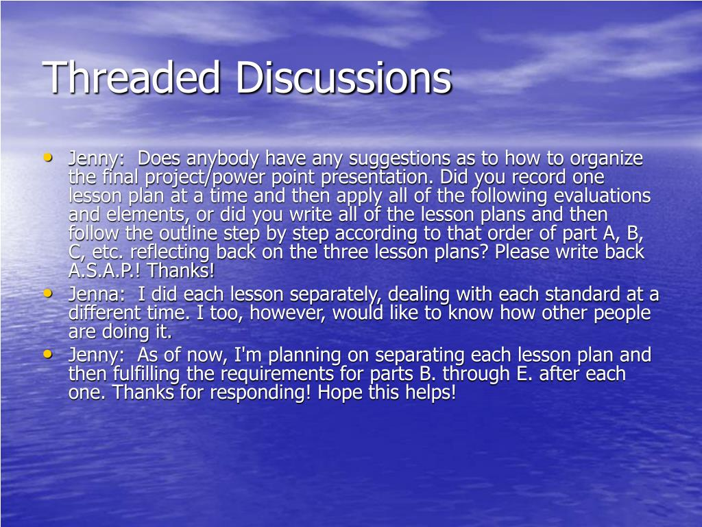 Threaded Discussions